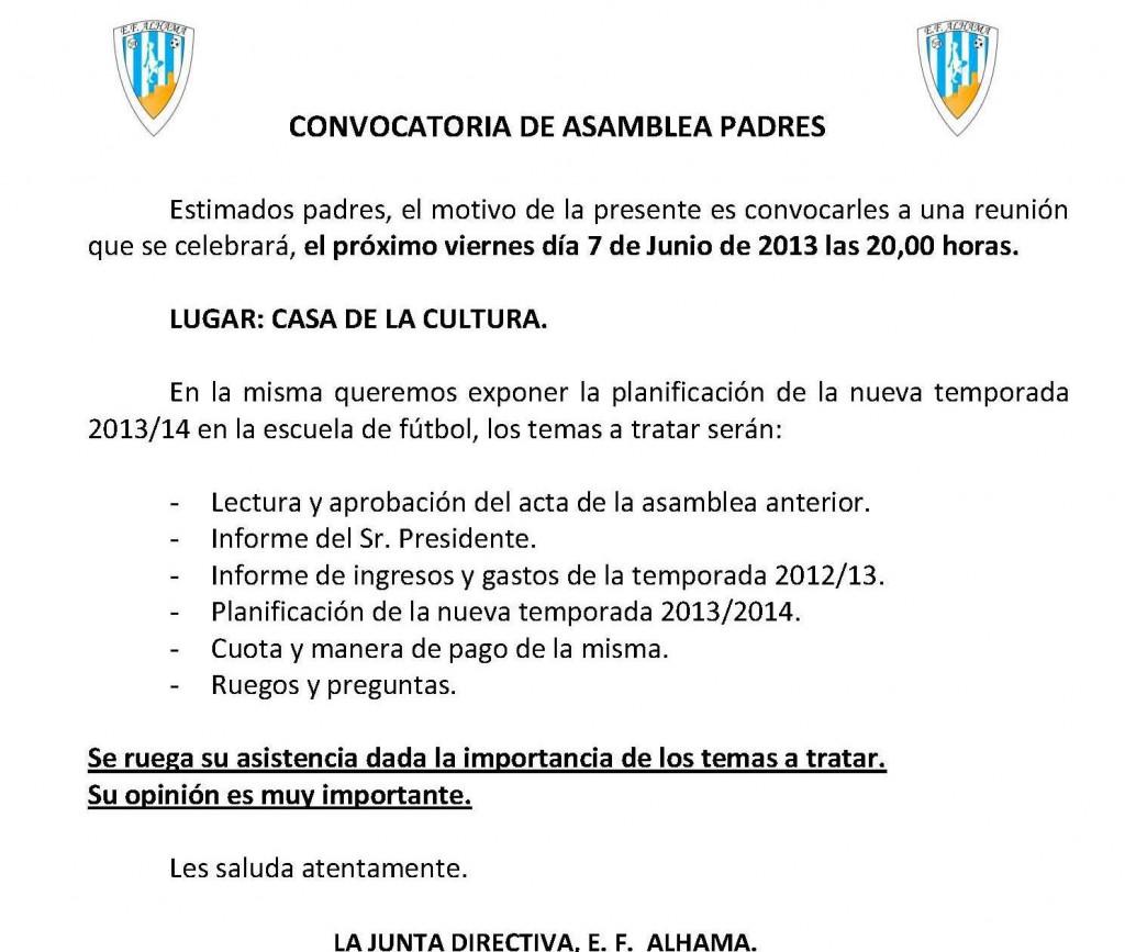 CONVOCATORIA ASAMBLEA PADRES 2013.