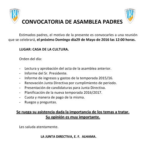Convocatoria Asamblea Padres 2016